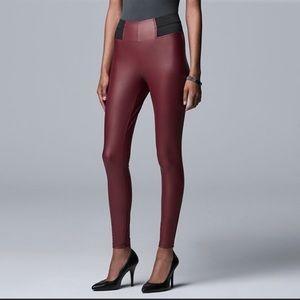 NWT Vera Wang Burgundy Black Faux Leather Pants